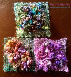 Crochet Flowers Design Fiber Art Reflections: Freeform crochet and woven pin loom squares - Free Form Crochet, Art Au Crochet, Crochet Chain, Crochet Geek, Crochet Motifs, Single Crochet Stitch, Irish Crochet, Crochet Stitches, Crochet Hooks