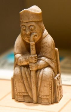 a bishop from the lewis chessmen, a 12th century norse chess set.