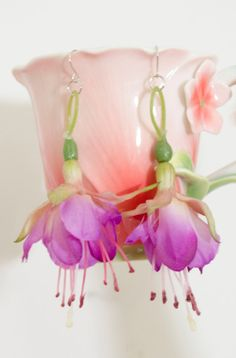 Fuchsia Fairy Flower earrings by Frecklesfairychest on Etsy, $15.00