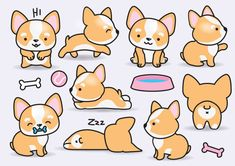 """Premium Vector Clipart Kawaii Corgis Cute by LookLookPrettyPaper"" - previous pinner Cute Animal Drawings, Kawaii Drawings, Easy Drawings, Doodles Kawaii, Cute Doodles, Strand Clipart, Griffonnages Kawaii, Cartoon Mignon, Art Mignon"