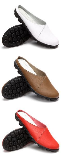 mens cow  leather slingbacks Mules loafers shoes flat heel soft lazy shoes