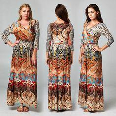 Bohemian Boho Moroccan Sunset Faux Wrap Jersey Maxi Dress Travel s M L 1x 2X 3X | eBay