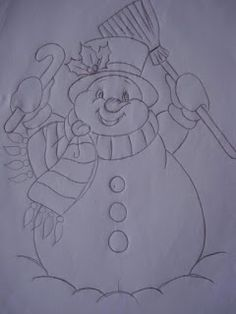 Cantinho da Tia Paty: BONECOS DE NEVE                                                                                                                                                     Mais Christmas Rock, Christmas Colors, Christmas Snowman, Christmas Crafts, Painting Templates, Painting Patterns, Fabric Painting, Christmas Embroidery Patterns, Applique Patterns