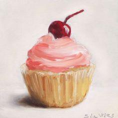 Schilderij Cupcake is geschilderd door kunstenaar Serge de Vries. Realistisch schilderij, olieverf op paneel, formaat 10 x 10 cm.