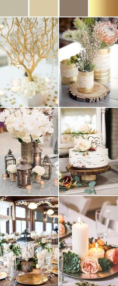 Top 10 Elegant and Chic Rustic Wedding Color Ideas elegant and chic rustic gold metallic wedding color ideas Always wanted to be able to knit, but not sure where do you st. Metallic Wedding Colors, Rustic Wedding Colors, Rustic Wedding Centerpieces, Wedding Decorations, Winter Wedding Colors, Rustic Colors, Rustic Weddings, Rustic Elegance, Rustic Chic