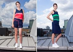 Crazy colorful and heavy on the geometric accents, London label Riyka uses recycled or organic fabrics whenever possible, and produces its collections locally in the UK. Supporters of sporty-chic style, this one's for you.