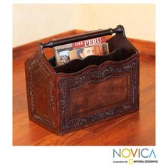 Mohena Wood and Leather 'Gracious Home' Magazine Rack (Peru)
