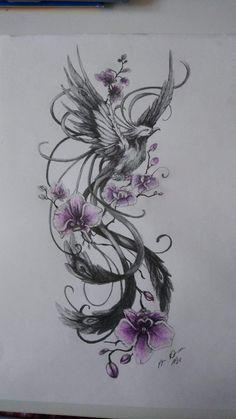 Pretty Tattoos, Cute Tattoos, Beautiful Tattoos, Leg Tattoos, Body Art Tattoos, Sleeve Tattoos, Phoenix Tattoo Sleeve, Tatoos, Phoenix Tattoo Girl