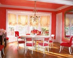 I love this colorful dining room!