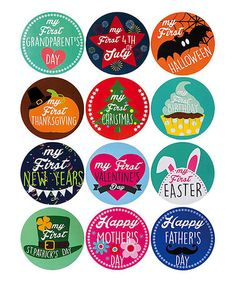 Help your little pal mark those holiday milestones with this festive sticker set. Playful graphics apply easily to their outfits to show off all their first-year experiences. Amy Day, Baby Stickers, Bottle Cap Images, Bottle Caps, Baby Belly, First Christmas, Thanksgiving Birthday, Baby Photos, First Birthdays