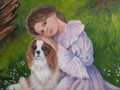 """""""Bond of Love"""", girl dog fine art portrait by (Glenda Stevens)GlendaOkiev, $500.00"""