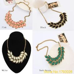 Fresh Green New Women Bib Statement Collar Chain Resin Pendant bohemian leaves necklace 4T91