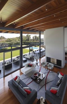 High Ceilings, Floor-to-Ceiling Windows, Fireplace, Sofas, Imposing Family Home in Lima, Peru