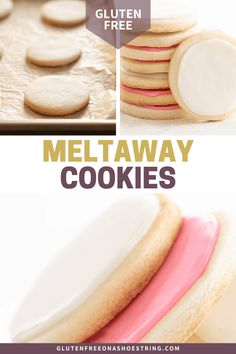 These delicate gluten free meltaway cookies are a cross between a butter cookie and shortbread, and really do melt in your mouth. Easy Gluten Free Desserts, Gluten Free Cookies, Gluten Free Baking, Wheat Free Recipes, Gluten Free Recipes, Celiac Recipes, Gf Recipes, Baking Recipes, Cookie Recipes