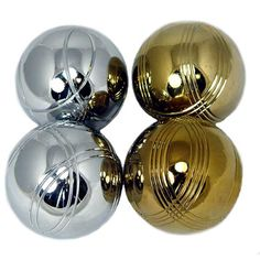 "2-Player ""8 steel ball Petanque Set: Bocce Set Gold & Silver"" (73mm) by PLAYABOULE 