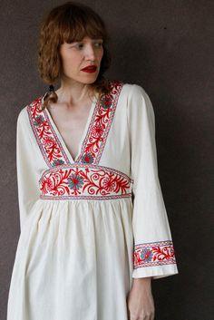 Vintage 1970's Cotton Maxi Dress BOHO CHRISTMAS Dress (Size M). $55.00, via Etsy.