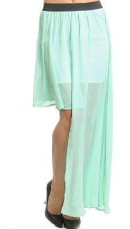 Chic Ladies Chiffon Maxi Side Split Long Skirt Layered Sheer Mint Teal