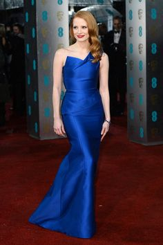 Jessica Chastain's electric blue Roland Mouret is WOW!