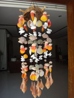 Coco Seashell Wind Chime Stick  Orange Orange by EastJava on Etsy