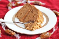 Guilt Free Peanut Butter Banana Cake with Caramel Frosting- sounds like delicious heaven.
