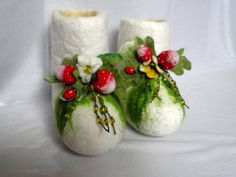 Felted shoes strawberries for children by Marywool on Etsy, $60.00