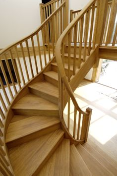 These timber winder stairs are a great alternative to traditional straight flight stairs.