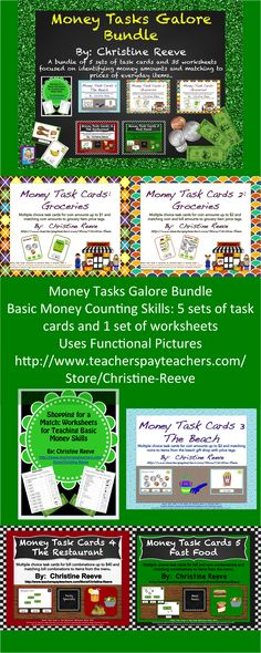 Money Task Cards and Worksheets.  This is a bundle of task cards and worksheets assembles 5 existing products in my store offered at a reduced price. It would be appropriate for early elementary grades working on understanding the value of money as well as life skills / special education classrooms working on using money.  25% less than if products bought individually. $16