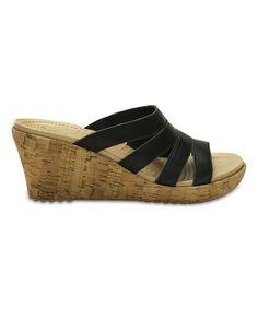f801f1ba4854 Crocs Black A-Leigh Leather Wedge Sandal - Women