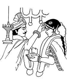 Tamil Cliparts: Printing Line art - 3 ( Wedding and invitations ) Basic Mehndi Designs, Bridal Mehndi Designs, Hand Embroidery Design Patterns, Embroidery Art, Namaste Art, Tattoo Coloring Book, Wedding Symbols, Wedding Drawing, Flower Art Drawing