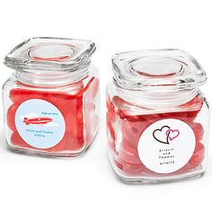 Personalized Square Glass Jar Favor Holders... for candy bar??
