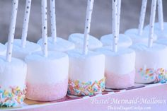 Pastel Mermaid Mallows - Mermaid Birthday Party Food Idea-Mermaid Snacks Treats  Our decorative paper straws that we have for sale in our shop work perfect fo
