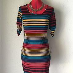Bodycon Mini Tight Stripped Dress Fitted striped mini dress. Brand is Mi Manchi. Size Small. Polyester/spandex. Dresses Mini
