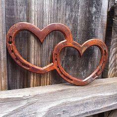 Horseshoe Art Ideas | Double HORSESHOE heart, wall art sign, western ... | Crafts and ideas