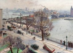 "Dame Laura Knight (British, 1877 - ""Chelsea Embankment"" (c. Oil on canvas x cm) McLean Museum and Art Gallery, Greenock, Inverclyde, Scotland. Impressionist Paintings, Impressionism Art, Landscape Paintings, London Art, Old London, London Life, Monuments, London Painting, Munier"