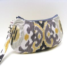 Pleated Wristlet Purse Ikat Stripe in Gray and by LMcreation, $30.00