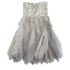 Pre-owned Alice & Olivia Champagne Embellished Ruffle Dress ($199) ❤ liked on Polyvore featuring dresses, champagne, champagne dresses, ruffle dress, sequined dress, champagne sequin dress and sequin cocktail dresses