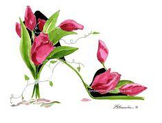 9ac868db330ada Bouquet de tulipes rose foncé avec vigne fleur chaussure Print - signé Art  mural livraison gratuite