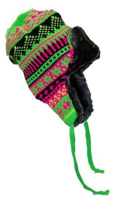 689642432fd96 JFH Group Neon Knit Russian Trapper Trooper Winter Hat (One Size)