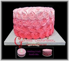 pink ombre rosette cake (cake is 10 in. round & almost 6 in. high)