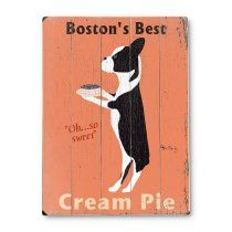 12 in. Boston Cream Pie Wood Sign