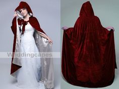 Wine red Velvet Silver satin Wedding Cape Hooded by satincloak, $49.00