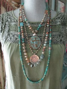 Knotted turquoise and premium Czech glass beads in a parade of color! Accented with gold vermeil, sterling silver, and rhinestone accents. Necklace measures 36. *Shown layered with another necklace available separately in my shop.. As with all of my jewelry, I ONLY use TOP quality