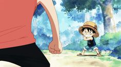 Luffy, using his newly aquired gum-gum powers // One Piece