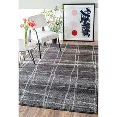 "Mercury Row Zuri Chalkboard Checkers Gray Area Rug Rug Size: 7'6"" x 9'6"""