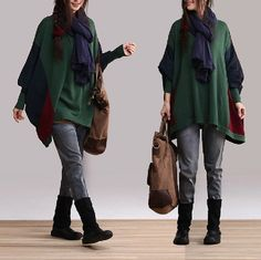 cotton Casual Long sleeved Tshirt Blouse mixed color by clothnew88, $79.99