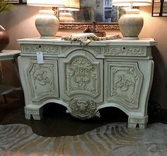 Ornate Side Board Painted With Farmhouse Paint   In Creamy Linen  With Glaze  $895  Fabulous Furniture with Farmhouse Paints  Farmhouse Paint exceeds any paint on the market today. It is not