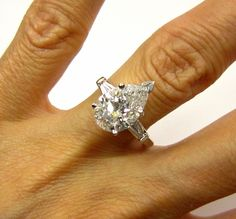3.70ct Vintage Estate Classic PEAR Cut Diamond Engagement Ring in from treasurlybydima at rubylane.com