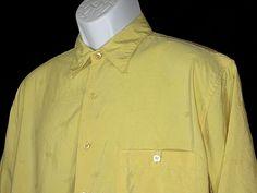 Tori Richard Men's Yellow Embroider Diamond and Palm Sz M 100% Silk Camp Shirt  #ToriRichard #ButtonFront