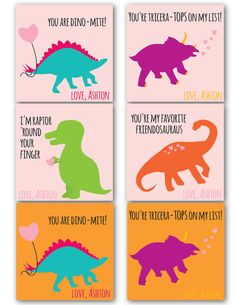 Printable Children's Valentine's Day Modern Dinosaur Cards