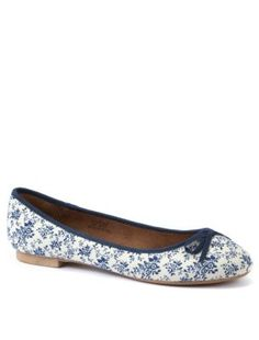 White and Blue Floral Ballet Pumps